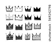 crowns set. cute hand draw... | Shutterstock .eps vector #569242798