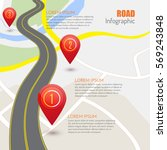 road infographic with red... | Shutterstock .eps vector #569243848
