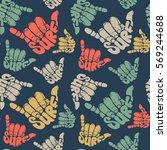 seamless pattern surfing hand... | Shutterstock .eps vector #569244688