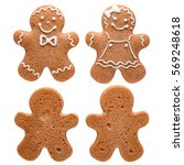 gingerbread couple. the front... | Shutterstock . vector #569248618