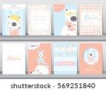 set of baby shower invitation... | Shutterstock .eps vector #569251840