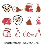 lamb meat  leg of lamb  lamb... | Shutterstock .eps vector #569254876