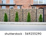 gabion wire mesh fencing with... | Shutterstock . vector #569255290