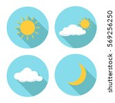 set of weather flat icon  sun...