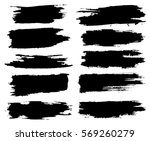 set of black paint  ink brush... | Shutterstock .eps vector #569260279