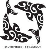 two maori dolphin. idea for... | Shutterstock .eps vector #569265004