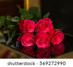 Red Roses On Black Background...