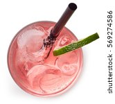 glass of pink soda drink with... | Shutterstock . vector #569274586