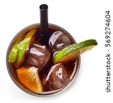 cuba libre cocktail with rum ... | Shutterstock . vector #569274604