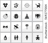 set of 16 editable baby icons....