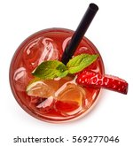 glass of red strawberry soda... | Shutterstock . vector #569277046