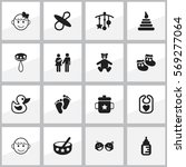 set of 16 editable infant icons....