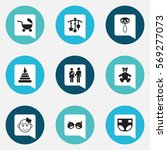 set of 9 editable child icons.... | Shutterstock .eps vector #569277073