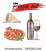 pizza vector set with red wine  ... | Shutterstock .eps vector #569281144