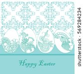 easter card with embroidery...   Shutterstock .eps vector #569284234