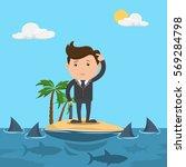 businessman standing on island... | Shutterstock .eps vector #569284798