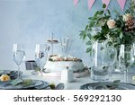 table served for birthday... | Shutterstock . vector #569292130