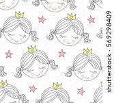 Seamless Cute Princess Pattern...