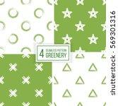 set of green seamless pattern... | Shutterstock .eps vector #569301316