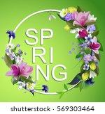 vector spring flowers... | Shutterstock .eps vector #569303464