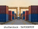 container ship in export and... | Shutterstock . vector #569308909