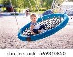 adorable little girl laughing... | Shutterstock . vector #569310850