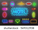 set of neon sign light at night ... | Shutterstock .eps vector #569312938