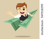 vector businessman flying on...   Shutterstock .eps vector #569318290