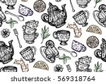 pattern with cup and teapot ... | Shutterstock .eps vector #569318764