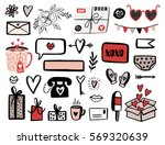 valentines day set with love... | Shutterstock .eps vector #569320639