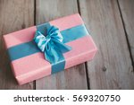 handmade gift box on the wood... | Shutterstock . vector #569320750
