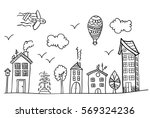 sketch of town street. coloring ... | Shutterstock .eps vector #569324236