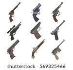 firearm set. guns  pistols ... | Shutterstock .eps vector #569325466