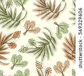 Floral forest seamless pattern. Wild Flowers and leaves background. Herbal botanical illustration.