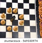 the chess pieces are placed on... | Shutterstock . vector #569330974