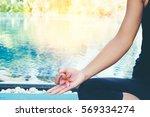 asia woman doing yoga fitness... | Shutterstock . vector #569334274