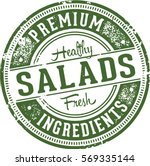 fresh healthy salads vintage... | Shutterstock .eps vector #569335144