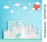 beautiful cityscape paper art... | Shutterstock .eps vector #569348728
