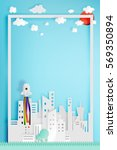 beautiful cityscape with rocket ... | Shutterstock .eps vector #569350894