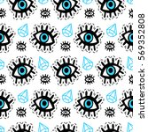 eyes patches seamless pattern.... | Shutterstock .eps vector #569352808