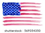 watercolor american flag.grunge ... | Shutterstock .eps vector #569354350