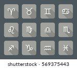 set of zodiac symbols  gray... | Shutterstock .eps vector #569375443