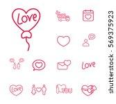 heart shape balloon romantic...   Shutterstock .eps vector #569375923