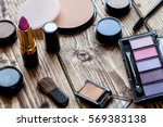 decorative cosmetics on wood... | Shutterstock . vector #569383138