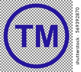 trade mark sign. blue icon on...