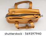brown leather woman bag. top... | Shutterstock . vector #569397940