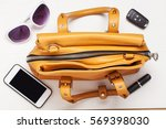 woman brown leather bag with... | Shutterstock . vector #569398030