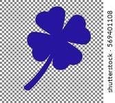 Leaf Clover Sign. Blue Icon On...