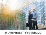 businessman and architect...   Shutterstock . vector #569408320
