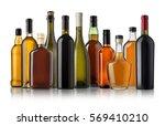 Set Wine Brandy Bottles Isolated - Fine Art prints